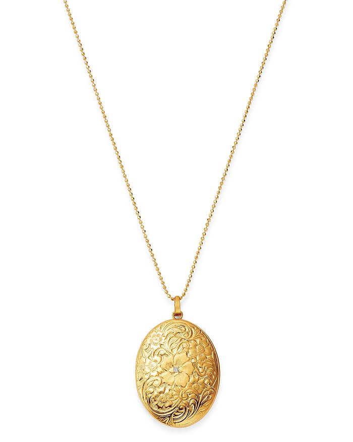 Bloomingdale's - Diamond Flower Locket Necklace in 14K Yellow Gold, 0.005 ct. t.w. - 100% Exclusive