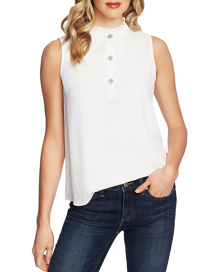 CeCe - Sleeveless Rhinestone-Button Blouse