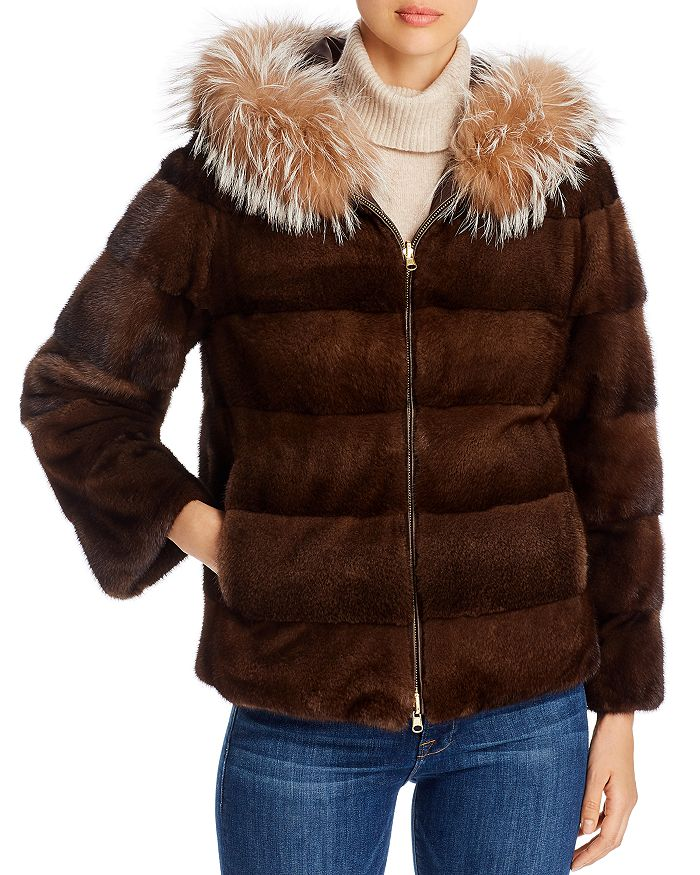 Maximilian Furs - Mink Fur & Fox Fur-Trim Hooded Reversible Jacket - 100% Exclusive