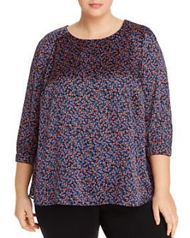 Daniel Rainn Plus - Satin Floral-Print Top