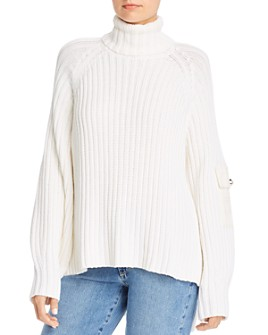 No Frills by Mother of Pearl - Jacquard Patch Ribbed-Knit Turtleneck Sweater