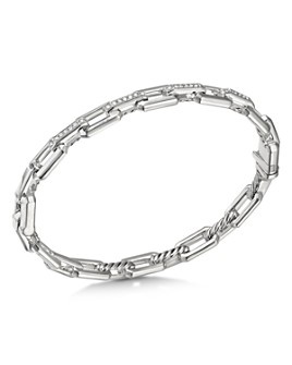 David Yurman - Sterling Silver Stax Link Bracelet with Diamonds