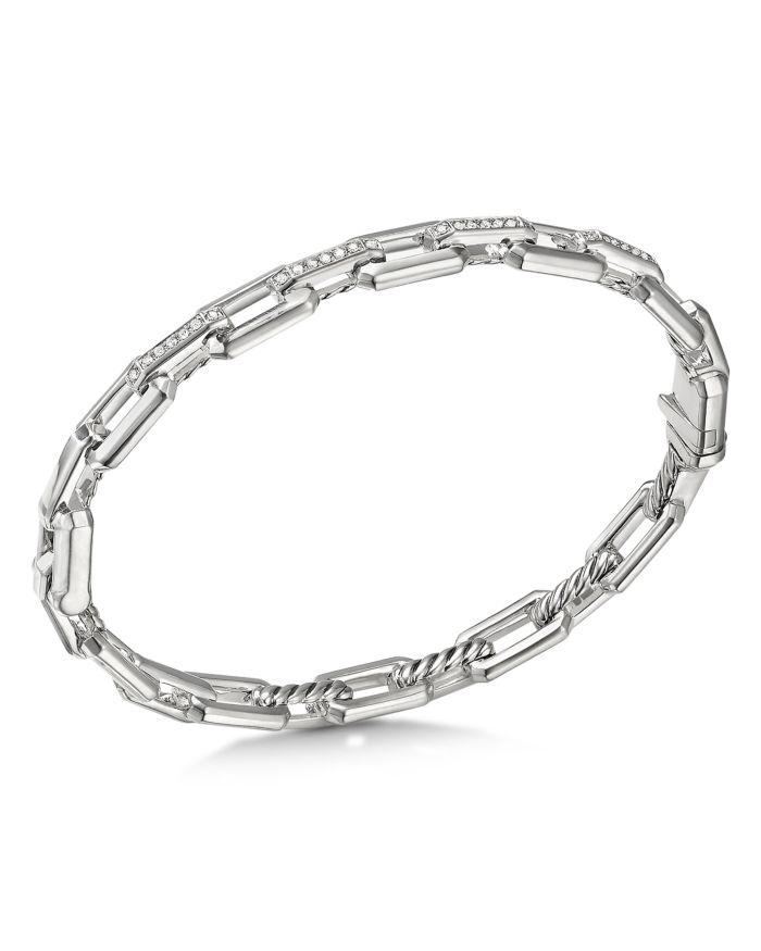 David Yurman Sterling Silver Stax Link Bracelet with Diamonds  | Bloomingdale's