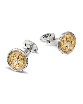 David Yurman - Sterling Silver & 18K Yellow Gold Maritime Compass Cufflinks with Diamonds