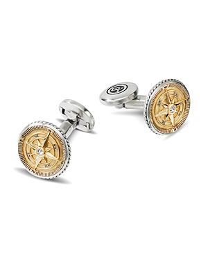David Yurman Sterling Silver & 18K Yellow Gold Maritime Compass Cufflinks with Diamonds