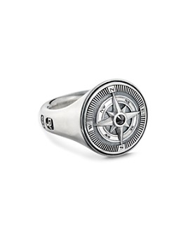 David Yurman - Sterling Silver Maritime Compass Signet Ring with Black Diamond