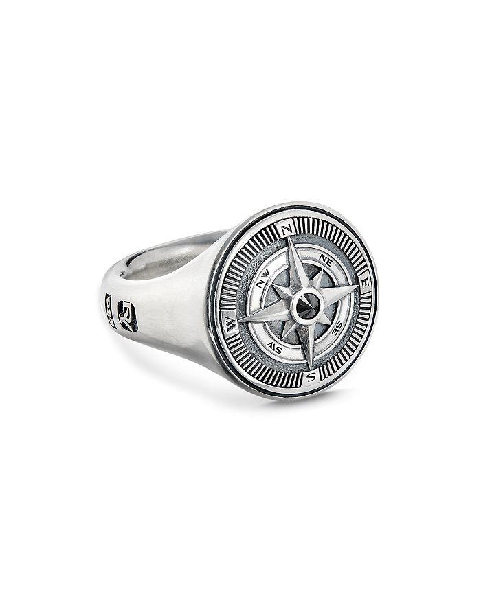David Yurman - Sterling Silver Maritime Compass Signet Ring with Black Diamond