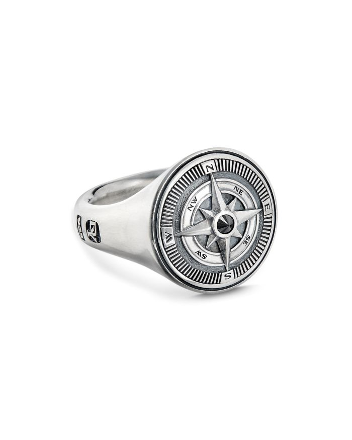 David Yurman Sterling Silver Maritime Compass Signet Ring with Black Diamond  | Bloomingdale's