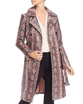 AQUA - Snake Print Faux-Leather Trench Coat - 100% Exclusive