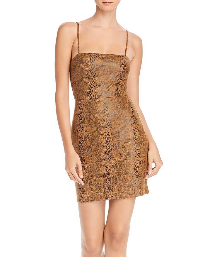 AQUA - Snake Print Faux-Suede Sheath Dress - 100% Exclusive