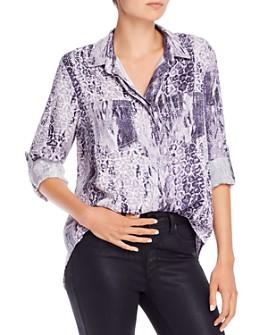 AQUA - Mixed Leopard & Snakeskin Print Button-Down Shirt - 100% Exclusive