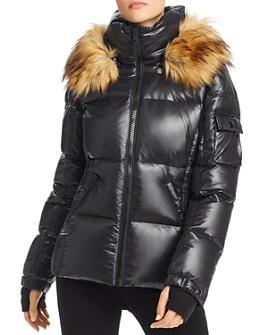 AQUA - Faux Fur-Trim Glossy Short Puffer Coat - 100% Exclusive