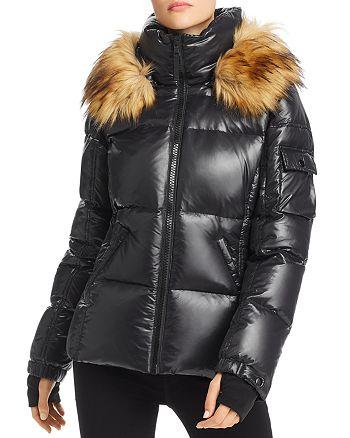 Faux Fur Trim Glossy Short Puffer Coat 100% Exclusive