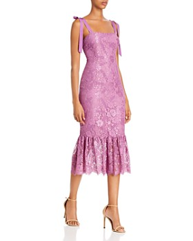 Rachel Zoe - Jessica Fluted Floral Lace Midi Dress - 100% Exclusive