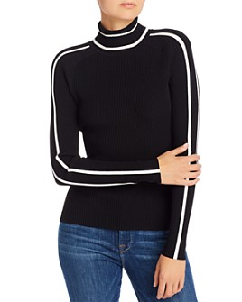 MILLY - Racer Stripe Ribbed-Knit Top