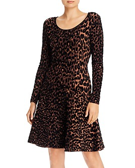 MILLY - Textured Cheetah Fit and Flare Dress