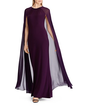Ralph Lauren - Georgette-Cape Jersey Gown
