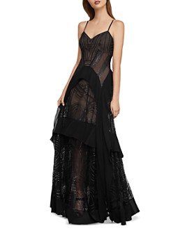 BCBGMAXAZRIA - Strappy Sequined & Embroidered Gown