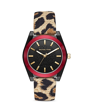 Michael Kors Channing Animal-Print Leather Strap Watch, 40mm-Jewelry & Accessories