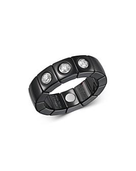 Roberto Demeglio - 18K White Gold & Black Ceramic Scacco Stretch Ring with Diamonds