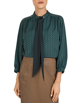 Gerard Darel - Mathilda Heart-Print Tie-Detail Blouse