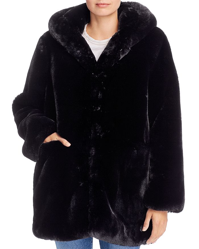 Apparis Maria Hooded Faux Fur Coat, Fake Fur Coat Hood