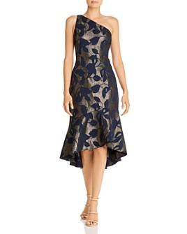 Adrianna Papell - Metallic Jacquard One-Shoulder Midi Dress