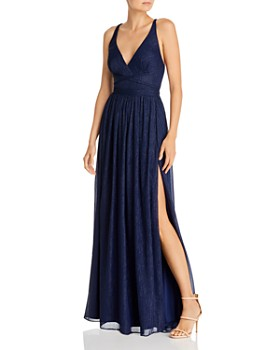 Laundry by Shelli Segal - Metallic-Stripe Strappy Gown - 100% Exclusive