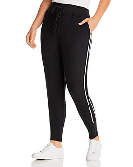 B Collection by Bobeau Curvy - Brushed Racing-Stripe Jogger Pants