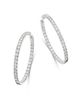 Bloomingdale's - Diamond Inside Out Hoop Earrings in 14K White Gold, 2.90 ct. t.w. - 100% Exclusive