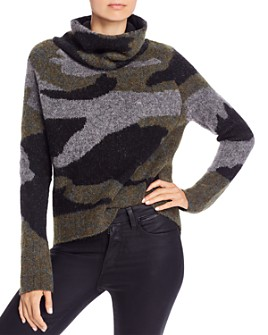 AQUA - High/Low Camouflage Turtleneck Sweater - 100% Exclusive