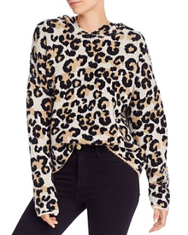 AQUA - Hooded Leopard-Print Sweater - 100% Exclusive