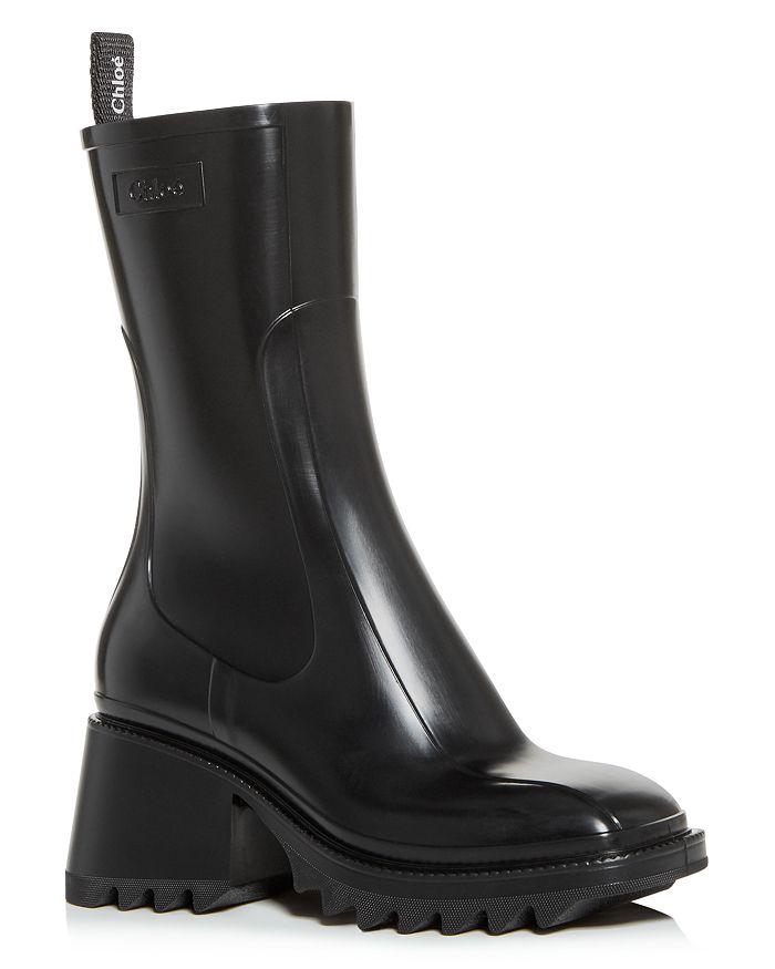 Chloé - Women's Betty Block-Heel Platform Rain Boots