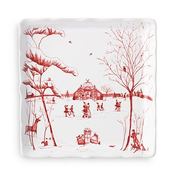 "Juliska - Country Estate Winter Frolic ""Mr. & Mrs. Claus"" Ruby Sweets Tray"