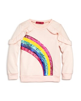 JOJO SIWA by BETSEY JOHNSON - Girls' Ruffled Rainbow Sweatshirt, Little Kid - 100% Exclusive