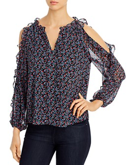 1.STATE - Cascading Calico Ruffled Cold-Shoulder Top