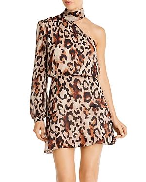 Rachel Zoe Dresses FERGIE LEOPARD PRINT ONE-SHOULDER DRESS