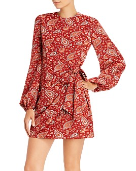 AQUA - Paisley Faux-Wrap Dress - 100% Exclusive