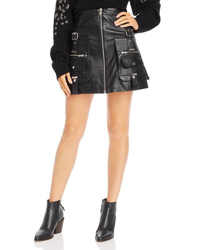 The Kooples - Leather Utility Mini Skirt
