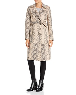 Sunset & Spring - Snake Print Faux-Leather Trench Coat - 100% Exclusive