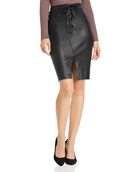 rag & bone - Lace-Up Leather Pencil Skirt