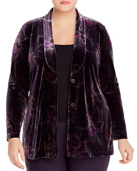NIC and ZOE Plus - Floral-Print Velvet Jacket