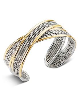 David Yurman - Sterling Silver & 18K Yellow Gold Origami Narrow Crossover Cuff Bracelet