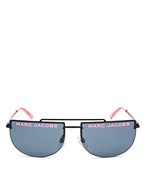 Marc Jacobs Women\\\'s Flat Top Brow Bar Rimless Aviator Sunglasses, 56mm