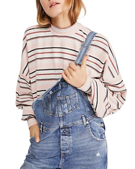 Free People - Steph Balloon-Sleeve Striped Tee