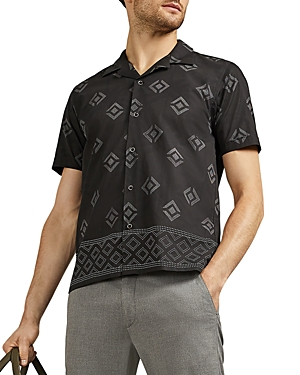 Ted Baker T-shirts THEODOR PALM SHORT-SLEEVE SLIM FIT SHIRT