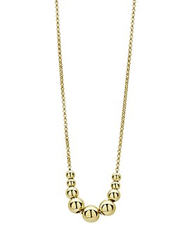"LAGOS - 18K Yellow Gold Caviar Gold Graduated Bead Center Chain Necklace, 16""-18"""