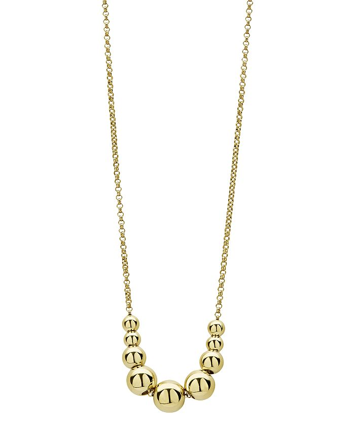 """LAGOS - 18K Yellow Gold Caviar Gold Graduated Bead Center Chain Necklace, 16""""-18"""""""