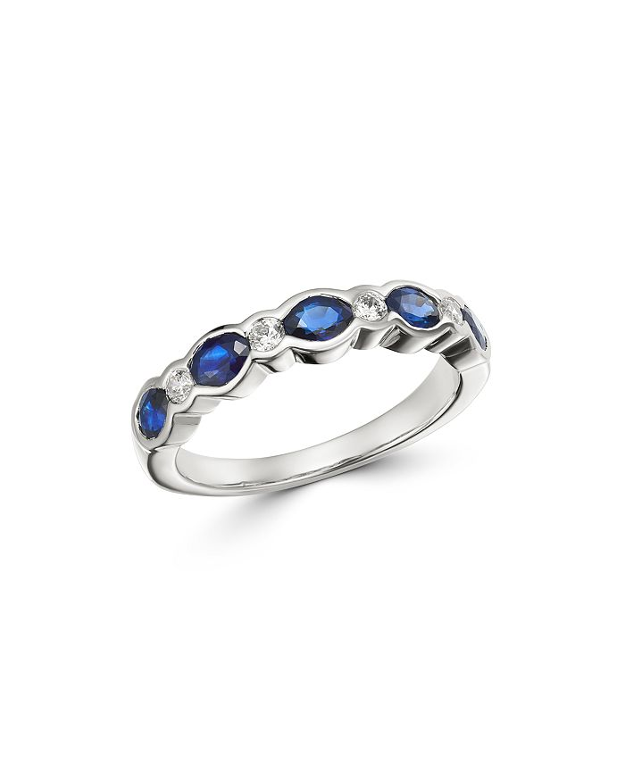 Bloomingdale's - Blue Sapphire & Diamond Band in 14K White Gold - 100% Exclusive