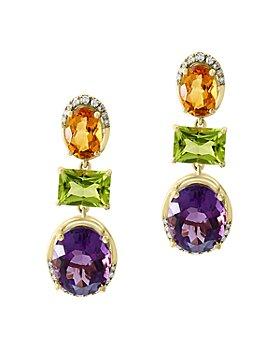 Bloomingdale's - Multi Gemstone & Diamond Drop Earrings in 14K Yellow Gold - 100% Exclusive